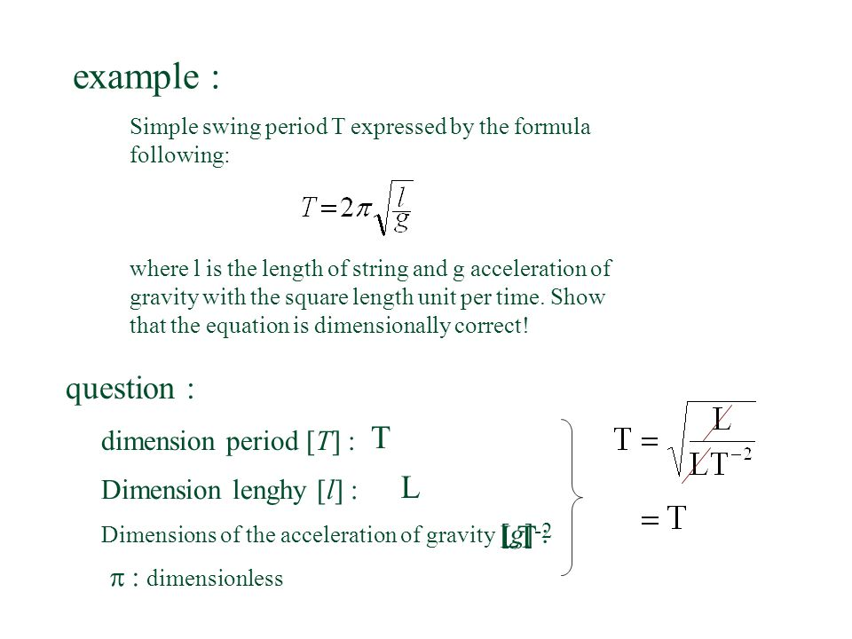 example : question : T L LT-2 dimension period [T] :